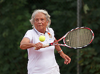 Netherlands, Amstelveen, August 21, 2015, Tennis,  National Veteran Championships, NVK, TV de Kegel,  Final lady's 80+, Wies Schuitemaker<br />