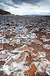 Salt flat in Valle De La Luna in the Atacama Desert near San Pedro de Atacama, Chile.
