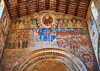 Romanesque interior with 14th century Frescoes of the Last Judgement attributed to Gregory and Donato D'Arezzo , Basilica Church of Santa Maria Maggiore, Tuscania