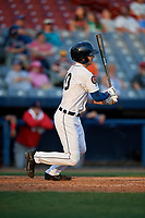 Connecticut Tigers center fielder Clark Brinkman (10) follows through on a swing during a game against the Lowell Spinners on August 26, 2018 at Dodd Stadium in Norwich, Connecticut.  Connecticut defeated Lowell 11-3.  (Mike Janes/Four Seam Images)