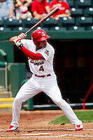 Thomas Pham (4) of the Springfield Cardinals at bat during a game against the Arkansas Travelers on May 10, 2011 at Hammons Field in Springfield, Missouri.  Photo By David Welker/Four Seam Images.