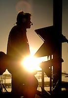 Nov 13, 2005; Phoenix, Ariz, USA;  Robbie Reiser crew chief for Nascar Nextel Cup driver Matt Kenseth watches the Checker Auto Parts 500 at Phoenix International Raceway. Mandatory Credit: Photo By Mark J. Rebilas