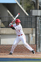 Ball State Cardinals infielder Alex Maloney (6) at bat during a game against the University of Kentucky Wildcats at Brooks Field on the campus of University of North Carolina-Wilmington on February 13, 2015 in Wilmington, North Carolina. Kentucky defeated Ball State 11-7. (Robert Gurganus/Four Seam Images)