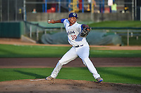 Jose Santos (30) of the Ogden Raptors delivers a pitch to the plate against the Grand Junction Rockies in Pioneer League action at Lindquist Field on September 3, 2015 in Ogden, Utah. Grand Junction defeated Ogden 16-8.   (Stephen Smith/Four Seam Images)