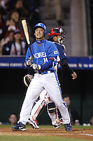 Min-Jae Kim of Korea during the World Baseball Championships at Angel Stadium in Anaheim,California on March 15, 2006. Photo by Larry Goren/Four Seam Images