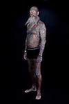 The most tattooed man in Denmark. Almost entire body covered in ink, including facial tattoo.<br />