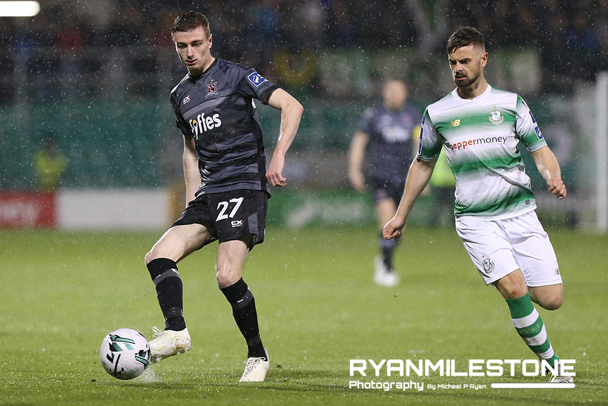 SSE Airtricity League Premier Division,<br /> Shamrock Rovers vs Dundalk <br /> Friday 1st March 2019,<br /> Tallaght Stadium, Dublin.<br /> Daniel Kelly of Dundalk in action against Greg Bolger of Shamrock Rovers.<br /> Mandatory Credit: Michael P Ryan