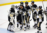 Marc-AndreFleury #29 of the Pittsburgh Penguins is congratulated by teammates following their 4-3 win against the Colorado Avalanche at Consol Energy Center during the game on November 19, 2015. (Photo by Jared Wickerham/DKPittsburghSports)