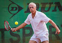 Hilversum, The Netherlands,  August 20, 2021,  Tulip Tennis Center, NKS, National Senior Tennis Championships, Men's single 75+, Nico Jongsma (NED)<br /> Photo: Tennisimages/Henk Koster