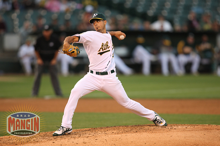 OAKLAND, CA - AUGUST 12:  Gio Gonzalez of the Oakland Athletics pitches during the game against the Tampa Bay Rays at the McAfee Coliseum in Oakland, California on August 12, 2008.  The Athletics defeated the Rays 2-1.  Photo by Brad Mangin