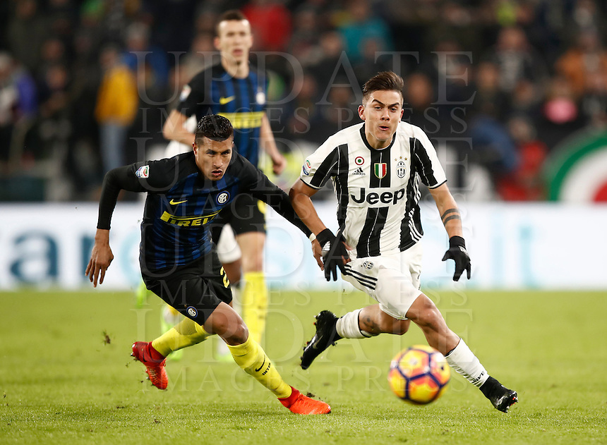 Calcio, Serie A: Torino, Juventus Stadium, 5 febbraio 2017.<br /> Inter Milan's Jeison Murillo (l) in action with Juventu's Paulo Dybala (r) during the Italian Serie A football match between Juventus and Inter Milan at Turin's Juventus Stadium, on February 5, 2017.<br /> UPDATE IMAGES PRESS/Isabella Bonotto