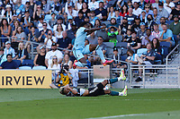 ST PAUL, MN - AUGUST 14: Julian Araujo #2 of the Los Angeles Galaxy and Bakaye Dibassy #12 of Minnesota United FC during a game between Los Angeles Galaxy and Minnesota United FC at Allianz Field on August 14, 2021 in St Paul, Minnesota.