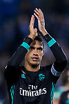 Raphael Varane of Real Madrid celebrates the team's victory during the Copa del Rey 2017-18 match between CD Leganes and Real Madrid at Estadio Municipal Butarque on 18 January 2018 in Leganes, Spain. Photo by Diego Gonzalez / Power Sport Images
