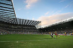Newcastle United 2 Watford 1, 16/12/2006. St James Park, Premier League. Newcastle United take on Watford (yellow shirts) in a Premiership match at St. James' Park, Newcastle. Both teams were struggling near the bottom of the table with the newly-promoted visitors occupying one of the three relegation at the time of the match. Newcastle won by 2 goals to 1, both being scored by Obafemi Martins. Hameur Bouazza had equalised before United's late winner. Photo shows United's James Milner putting in a cross. Photo by Colin McPherson.