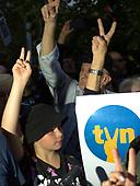 Warsaw 10.08.2021 Poland<br /> W Warszawie i w prawie 100 innych miastach w Polsce odbyly sie manifestacja w obronie stacji telewizyjnej TVN. Projekt PiS nowelizacji ustawy o radiofonii i telewizji zminia zasady przyznawania koncesji na nadawanie mediow, co wiaze sie z wymuszeniem sprzedazy TVN-u przez amerykanski koncern Discovery.<br /> Photo: Adam Lach<br /> <br /> Demonstrations in defense of TV station TVN took place in Warsaw and almost 100 other cities in Poland . The Law and Justice Party's draft amendment to the Broadcasting Act changes the rules of granting concessions for media broadcasting, which is connected with forcing the sale of TVN by the American company Discovery.