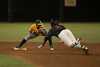 AZL Athletics shortstop Alexander Campos (8) prepares to apply the tag to David Villar (9) during an Arizona League game against the AZL Giants Black at the San Francisco Giants Training Complex on June 19, 2018 in Scottsdale, Arizona. AZL Athletics defeated AZL Giants Black 8-3. (Zachary Lucy/Four Seam Images)