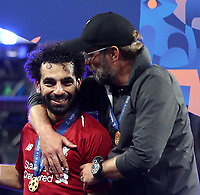 Liverpool's coach Jurgen Klopp (r) celebrates with his player Mohamed Salah (l) at the end of the UEFA Champions League final football match between Tottenham Hotspur and Liverpool at Madrid's Wanda Metropolitano Stadium, Spain, June 1, 2019. Liverpool won 2-0.<br /> UPDATE IMAGES PRESS/Isabella Bonotto