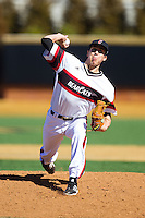 Cincinnati Bearcats relief pitcher Grant Walker (46) in action against the Radford Highlanders at Wake Forest Baseball Park on February 22, 2014 in Winston-Salem, North Carolina.  The Highlanders defeated the Bearcats 6-5.  (Brian Westerholt/Four Seam Images)