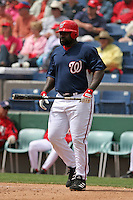 Washington Nationals Dmitri Young during a Grapefruit League Spring Training game at Spacecoast Stadium on March 19, 2007 in Melbourne, Florida.  (Mike Janes/Four Seam Images)