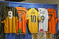 Pictured: Collectable shirts in the club shop in Newport, Wales, UK. Thursday 14 February 209<br /> Re: The city of Newport is preparing to host the FA Cup match between Newport County and Manchester City at Rodney Parade, Newport, Wales, UK.