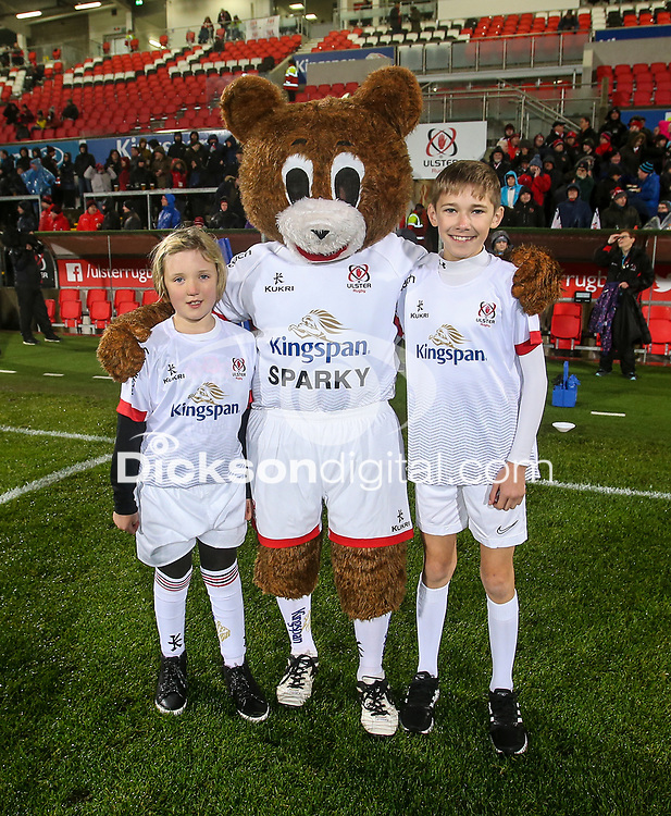 Friday 22nd November 2019 | Ulster Rugby vs Clermont Auvergne<br /> <br /> Ulster mascots Lily-Rose Sturgeon and Luka Matchett with Sparky during the Heineken Champions Cup Pool 3 Round 2 match between Ulster Rugby  and Clermont Auvergne at Kingspan Stadium, Ravenhill Park, Belfast, Northern Ireland. Photo by John Dickson/DICKSONDIGITAL