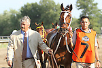 July 27, 2014: Untapable in the post parade for the HaskellBayern with Martin Garcia win the 47th running of the Grade I Haskell Stakes for 3-year olds going 1 1/4 mile, at Monmouth Park. Trainer: Bob Baffert. Owner: Kaleem Shah, Inc.. Sue Kawczynski/ESW/CSM