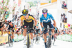 Primoz Roglic (SLO) Jumbo-Visma and Enric Mas (ESP) Movistar Team attack on the final slope during Stage 11 of La Vuelta d'Espana 2021, running 133.6km from Antequera to Valdepeñas de Jaén, Spain. 25th August 2021.      <br /> Picture: Unipublic/Charly Lopez | Cyclefile<br /> <br /> All photos usage must carry mandatory copyright credit (© Cyclefile | Charly Lopez/Unipublic)