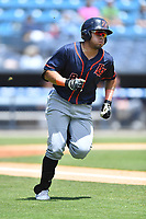 Bowling Green Hot Rods Jonathan Aranda (8) runs to first base during a game against the Asheville Tourists on May 30, 2021 at McCormick Field in Asheville, NC. (Tony Farlow/Four Seam Images)