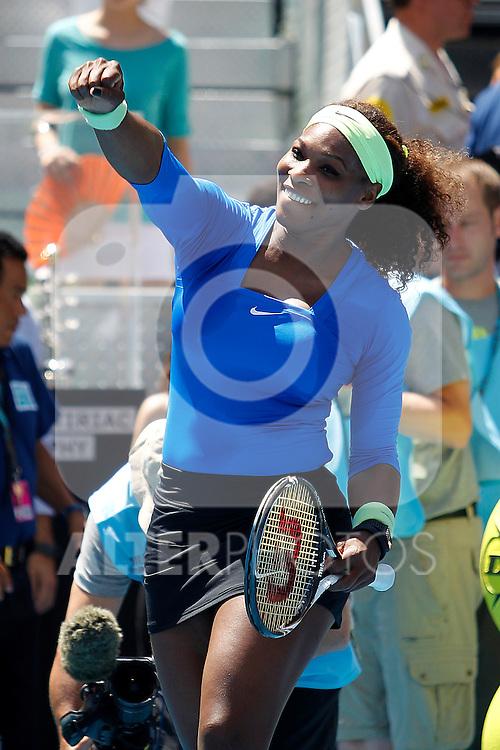 Serena Williams celebrates the victory during Madrid Open Tennis 2012 WTA-Singles final match.May, 13, 2012(ALTERPHOTOS/ALFAQUI/Acero)