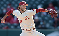 Arkansas reliever Evan Gray delivers to the plate Wednesday, April 7, 2021, during the fifth inning of the Razorbacks' 10-3 win over UALR at Baum-Walker Stadium in Fayetteville. Visit nwaonline.com/210408Daily/ for today's photo gallery. <br /> (NWA Democrat-Gazette/Andy Shupe)