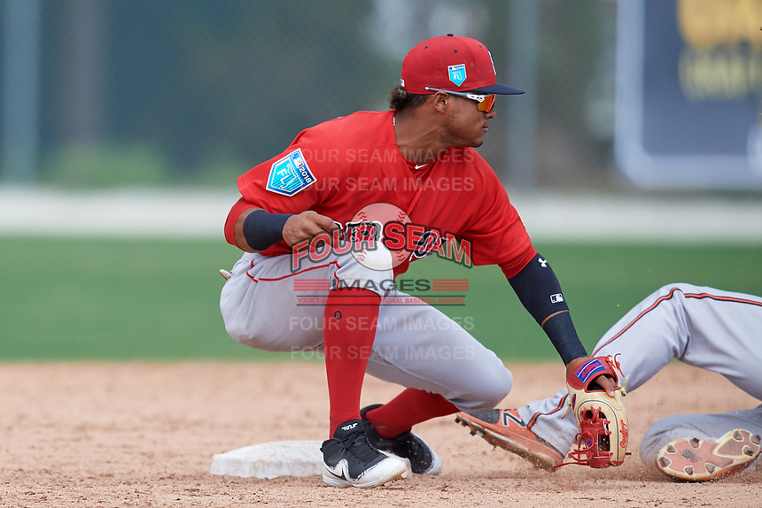 Boston Red Sox Kervin Suarez (16) during a Minor League Spring Training game against the Baltimore Orioles on March 20, 2018 at Buck O'Neil Complex in Sarasota, Florida.  (Mike Janes/Four Seam Images)