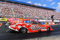 Sept. 15, 2012; Concord, NC, USA: NHRA funny car driver Jim Head during qualifying for the O'Reilly Auto Parts Nationals at zMax Dragway. Mandatory Credit: Mark J. Rebilas-