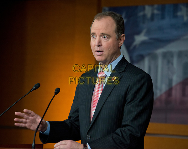 United States Representative Adam Schiff (Democrat of California), ranking member of the US House Permanent Select Committee on Intelligence holds a press conference in the US Capitol on Wednesday, March 22, 2017.  Schiff was speaking after the committee chairman, US Representative Devin Nunes (Republican of California) announced he had been given some intercepted communications that do not appear to be related to the ongoing FBI investigation into Trump associates' contacts with Russia or any criminal warrants. Nunes, who was a member of President Trump's transition team, went to the White House to brief the President on their contents before sharing them with Schiff.  <br /> CAP/MPI/RS<br /> ©RS/MPI/Capital Pictures