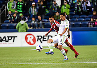 Seattle, Washington - March 24, 2015: The Seattle Sounders FC and Los Xolos de Club Tijuana played to a 2-2 tie in friendly action on the Xbox Pitch at CenturyLink Field.