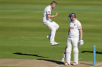 Olly Stone of Warwickshire celebrates taking the wicket of Nick Browne during Warwickshire CCC vs Essex CCC, LV Insurance County Championship Group 1 Cricket at Edgbaston Stadium on 22nd April 2021
