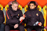 Dutch players Rick Karsdorp and Justin Kluivert of AS Roma sit on the bench ahead the Serie A 2018/2019 football match between AS Roma and Sassuolo at stadio Olimpico, Roma, December, 26, 2018 <br />  Foto Andrea Staccioli / Insidefoto