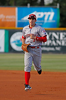 Greeneville Reds center fielder Mike Siani (34) runs in between innings against the Burlington Royals at the Burlington Athletic Complex on July 7, 2018 in Burlington, North Carolina. This game was the first professional game for Siani since signing with Cincinnati. Burlington defeated Greeneville 2-1. (Robert Gurganus/Four Seam Images)