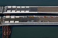 aerial photograph of the construction of the replacement span of the San Francisco Oakland Bay Bridge, California