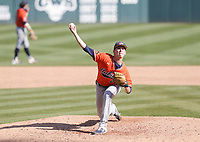 Auburn Trace Bright (21) throws a pitch, Saturday, April 3, 2021 during the ninth inning of a baseball game at Baum-Walker Stadium in Fayetteville. Check out nwaonline.com/210404Daily/ for today's photo gallery. <br /> (NWA Democrat-Gazette/Charlie Kaijo)