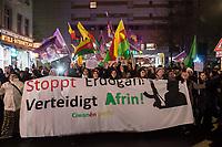 """Ca. 1.200 Menschen demonstrierten am Samstag den 20. Januar 2018 in Berlin gegen die Angriffe des tuerkischen Militaer auf die syrische Stadt Afrin. Afrin liegt in der von Kurden bewohnten Nordsyrischen Region Rojava, wo es eine unter Kurdischer Fuehrung eine Sebstverwaltung gibt. Die Tuerkei behauptet, die kurdischen Militaereinheiten JPG und YPJ, welche erfolgreich die von der Tuerkei unterstuetzten IS-Kämpfer aus der Region vertrieben haben, waeren nichts anderes als die in der Tuerkei verbotene PKK. Das tuerkische Militaer greift seit dem 20. Januar 2018 die Stadt Afrin und die Umgebung massiv mit Flugzeugen und Artillerie an. Am Boden sollen anstelle tuerkischer Soldaten, Truppen der islamistischen """"Freien Syrischen Armee"""" FSA, gegen die Kurden kaempfen.<br /> 20.1.2018, Berlin<br /> Copyright: Christian-Ditsch.de<br /> [Inhaltsveraendernde Manipulation des Fotos nur nach ausdruecklicher Genehmigung des Fotografen. Vereinbarungen ueber Abtretung von Persoenlichkeitsrechten/Model Release der abgebildeten Person/Personen liegen nicht vor. NO MODEL RELEASE! Nur fuer Redaktionelle Zwecke. Don't publish without copyright Christian-Ditsch.de, Veroeffentlichung nur mit Fotografennennung, sowie gegen Honorar, MwSt. und Beleg. Konto: I N G - D i B a, IBAN DE58500105175400192269, BIC INGDDEFFXXX, Kontakt: post@christian-ditsch.de<br /> Bei der Bearbeitung der Dateiinformationen darf die Urheberkennzeichnung in den EXIF- und  IPTC-Daten nicht entfernt werden, diese sind in digitalen Medien nach §95c UrhG rechtlich geschuetzt. Der Urhebervermerk wird gemaess §13 UrhG verlangt.]"""