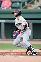 Designated hitter Scott Kapers (21) of the Hickory Crawdads in a game against the Greenville Drive on Friday, June 18, 2021, at Fluor Field at the West End in Greenville, South Carolina. (Tom Priddy/Four Seam Images)