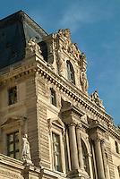 Facade of the Pavillon de l'Horloge, an entrance to the Louvre Museum, Paris, France.
