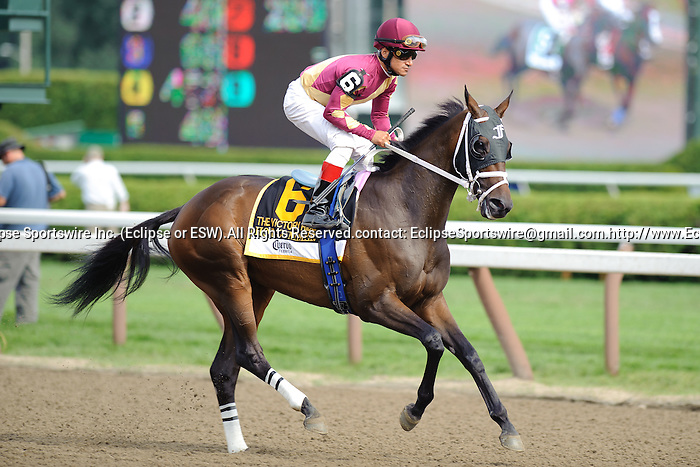Cornelio Velasquez aboard Hot Summer Wins  the Victory Ride Stakes(Grade III)  at  Saratoga Race Course in Saratoga Springs, NY  on 8/27/11. Trained by David Fawkes (Ryan Lasek / Eclipse Sportwire)