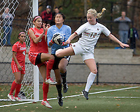 Corner kick action. Boston College defeated Marist College, 6-1, in NCAA tournament play at Newton Campus Field, November 13, 2011.