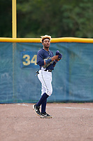 GCL Rays outfielder Christian Johnson (4) during a Gulf Coast League game against the GCL Pirates on August 7, 2019 at Charlotte Sports Park in Port Charlotte, Florida.  GCL Rays defeated the GCL Pirates 5-3 in the second game of a doubleheader.  (Mike Janes/Four Seam Images)