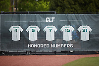 A banner hangs on the fence honoring former Charlotte 49ers greats during the game against the Old Dominion Monarchs at Hayes Stadium on April 25, 2021 in Charlotte, North Carolina. (Brian Westerholt/Four Seam Images)