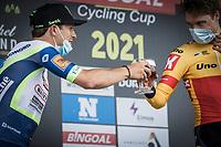 cheers to Rasmus Tiller (NOR/Uno-X) victory. Podium with Danny Van Poppel (NED/Intermarche-Wanty Gobert)<br /> <br />  17th Dwars Door Het Hageland 2021<br /> One Day Race: Aarschot – Diest 18Okm (UCI 1.Pro)<br /> Bingoal Cycling Cup 2021<br /> <br /> ©kramon