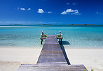 Dock on Musha Cay in the Exumas, Bahamas, Out Islands, owned by David Copperfield
