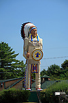 Large statue of a native American outside a store in Freeport, Maine, USA