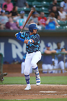 Andy Pages (18) of the Ogden Raptors bats against the Grand Junction Rockies at Lindquist Field on June 14, 2019 in Ogden, Utah. The Raptors defeated the Rockies 12-0. (Stephen Smith/Four Seam Images)